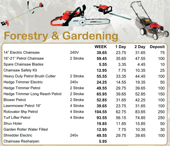 Lakedale power tools forestry gardening hire for Gardening tools list pdf